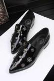 クロムハーツ ローファー靴 CHROME HEARTS 星 十字架ロゴの限定セール大人気な黒いレディースフラットシューズ ローヒールパンプス.