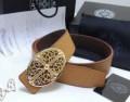 クロム ハーツ ベルト コピー クロス バックル CHROMEHEARTS メンズ ブラウン レザーベルト ゴールド装飾.