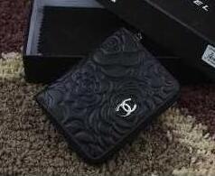 素敵なシャネル財布コピーCHANEL ミニラウンドファスナーウォレットCCロゴ 花柄ブラック